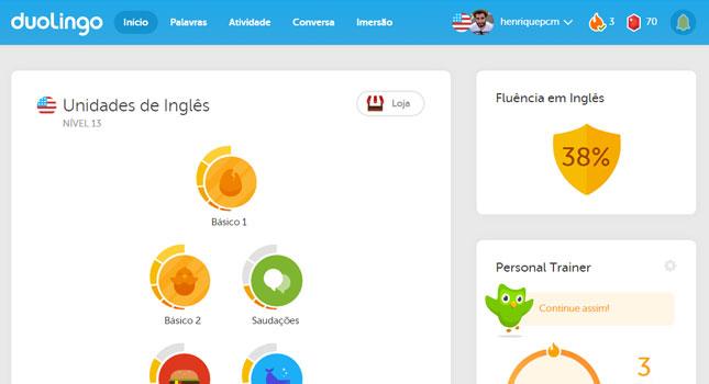 aprender inglês sozinho usando o Duolingo