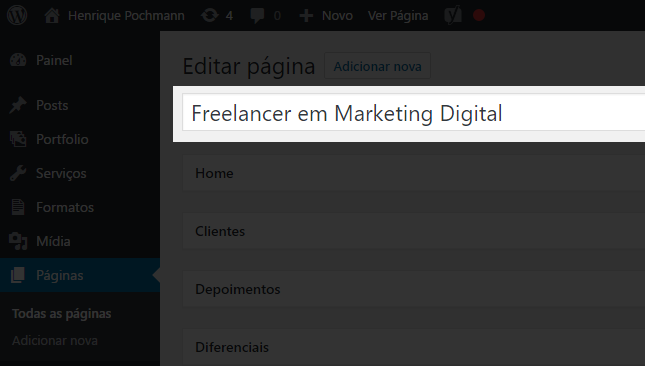 Onde alterar o h1 do seu site com o template Freelancer Full Folio