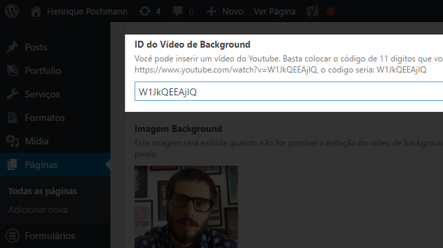 Editando o vídeo de background do Freelancer Full Folio