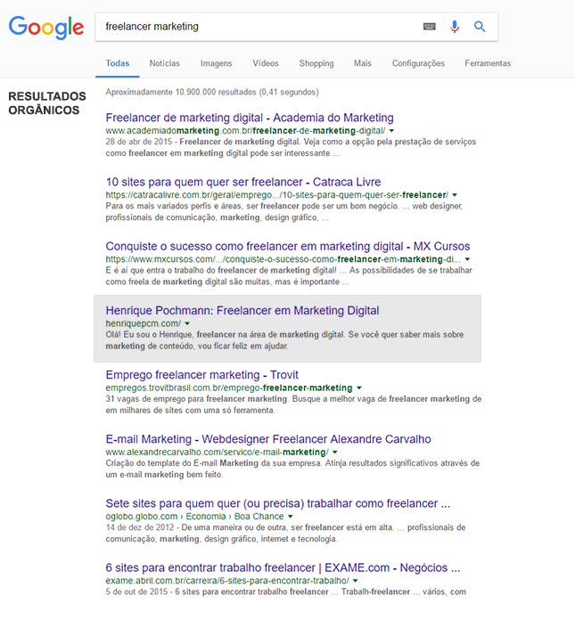 resultado de buscas no Google por freelancer marketing